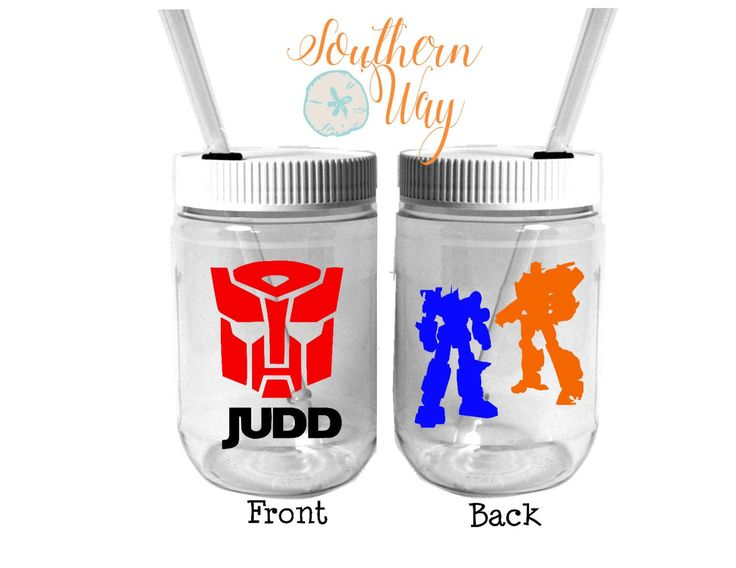 Plastic Mason Jar Cups - Party Favor - Plastic Cups - Birthday Party Favor - Rescue Bots - Transformers Party Favor by SouthernWayCompany on Etsy https://www.etsy.com/listing/228691829/plastic-mason-jar-cups-party-favor