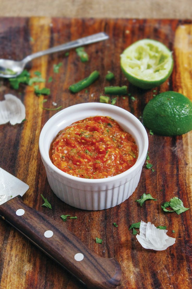 2+ servings While I love fresh, raw salsa, there's something magical that happens with the combination of roasted tomatoes and fresh ingredients. Plus,