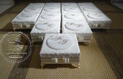 Tudo em Caixas - Caixas em MDF e Tecido (67)3211-7767: Caixas Casamento - Padrinhos(0067CAS) - Rochelli e Lucas