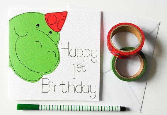Dinosaur First Birthday Card First 1st Happy Birthday Card Cute Green Dino 1st Birthday Card First Birthday Cards 1st Birthday Cards Dinosaur First Birthday