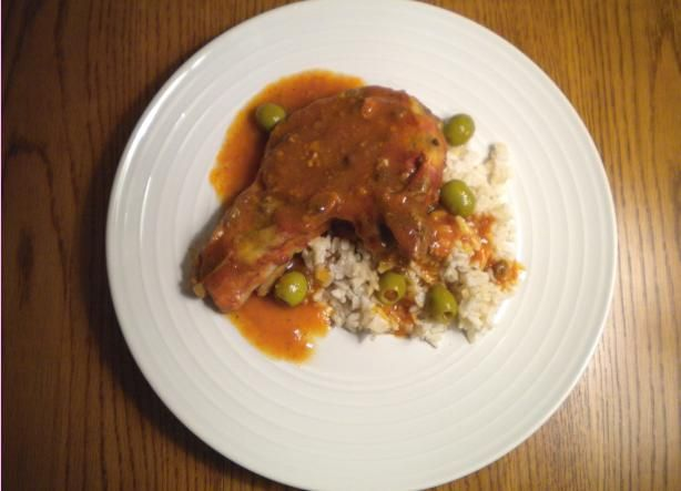Cuban Slow-Cooker Pork Chops from Food.com: This recipe is courtesy of my Mother-in-law. It's the easiest, most delicious crock pot recipe ever. Normally I shy away from canned ingredients, but the sofrito has so much flavor, it really doesn't need anything else. I serve the chops with a side of brown rice.