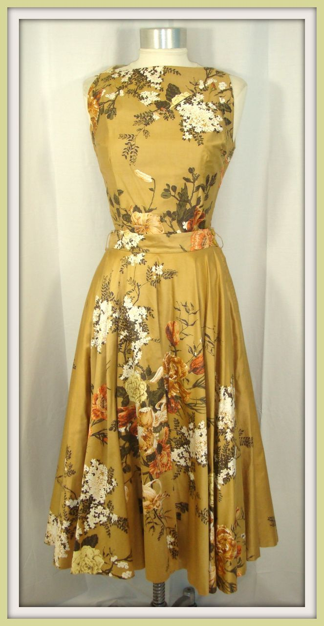 Vintage 50s Modern Junior 2 Pc. Gold Floral Party Dress w/Crinoline XS/S