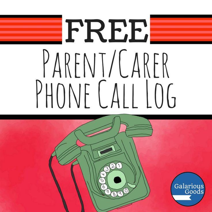 Free Parent/Carer Phone Call Log - Back to School freebie for teachers from Galarious Goods #backtoschool #teacherfreebie