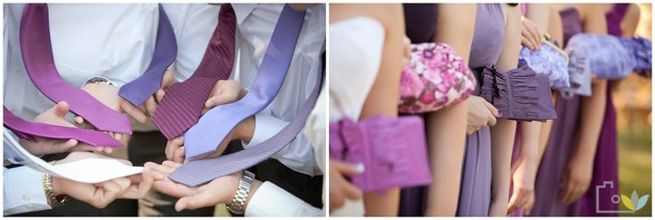 Purple ties for the groom and purple purses for the bridesmaids!  | photo by http://www.leahbullard.com | see more http://www.thebridelink.com/blog/2013/03/05/knoxville-wedding-by-leah-bullard-photography/