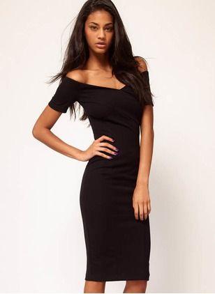 Polyester Solid Short Sleeve Knee-Length Elegant Dresses (1000223) @ floryday.com
