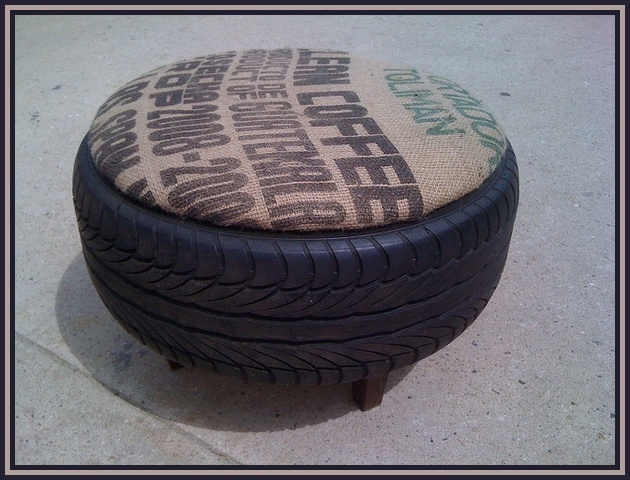 recycled tire gunnysack chair or ottoman or should I say automan :)