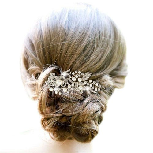 Bridal Hair Style With Rhinestone And Pearl Hair Comb