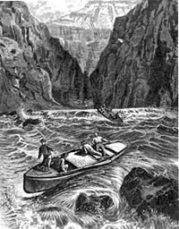 Illustration showing Powell's wooden dories in the Colorado River