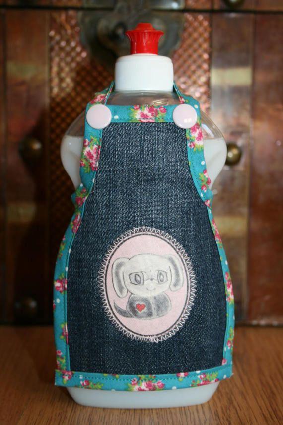 Spüli Schürze Dekoration für Spülmittelflaschen blau grün