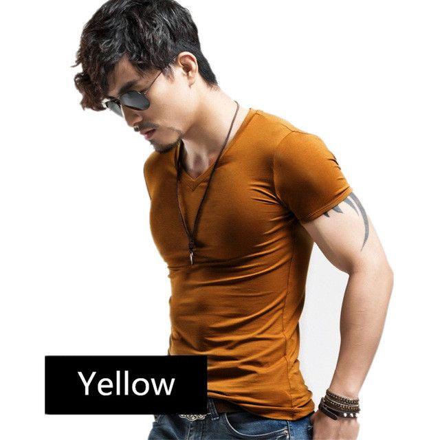 Men's Tops Tees 2016 summer new cotton v neck short sleeve t shirt men fashion trends fitness tshirt free shipping LT39