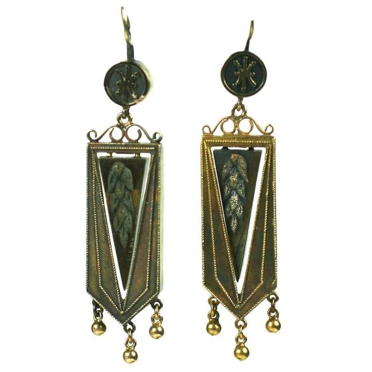 Articulated Victorian Gold Wheat Earrings   From a unique collection of vintage dangle earrings at https://www.1stdibs.com/jewelry/earrings/dangle-earrings/