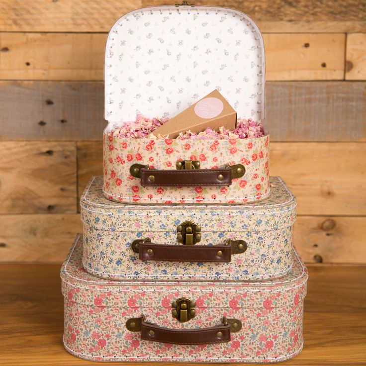 Vintage Style Natural Real Petal Confetti Suitcase