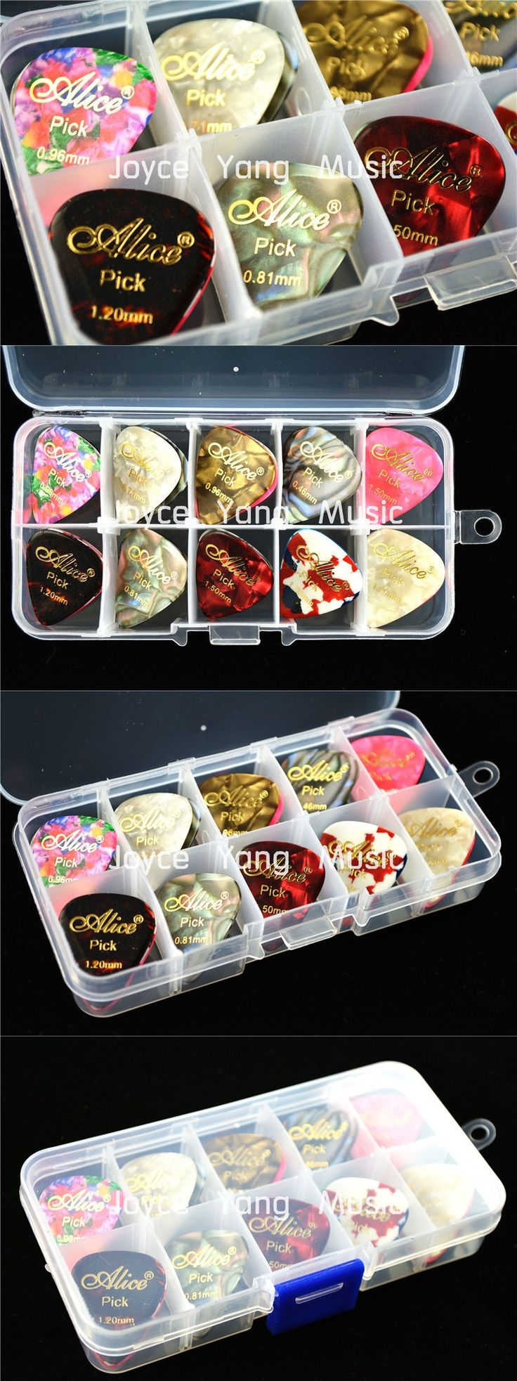 30pcs Alice Hot Stamping Pearl Celluloid Acoustic Electric Guitar Picks Plectrums+1 Plastic Picks Box Case Free Shipping