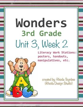 Wonders Reading3rd GradeUnit 3, Week 2This resource includes the following itemsUnit Focus Posters:Essential Unit QuestionsWeekly SkillsLiteracy Work Stations:Parts of SpeechSentence EditingFlash CardsWord ScrambleWord SortPrefixes/Suffixes Match-upWord Match: SynonymsWord/Definition Match-upComprehension/OrganizationGraphic Organizers (for each story)Response to Literature QuestionsThis resource has been created for use with the Wonders Reading Program by McGraw-Hill.
