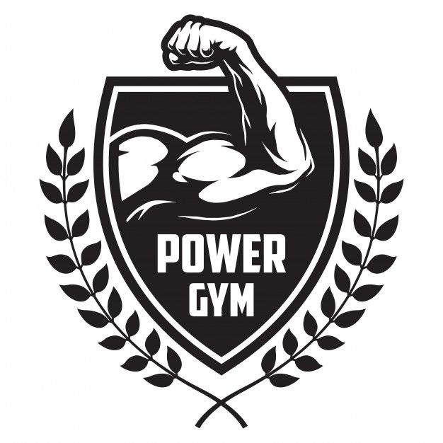 Monochrome Sport And Fitness Logotype With Bodybuilder Muscle Laurel Branches Gym Art Logotype Design Doodle Quotes