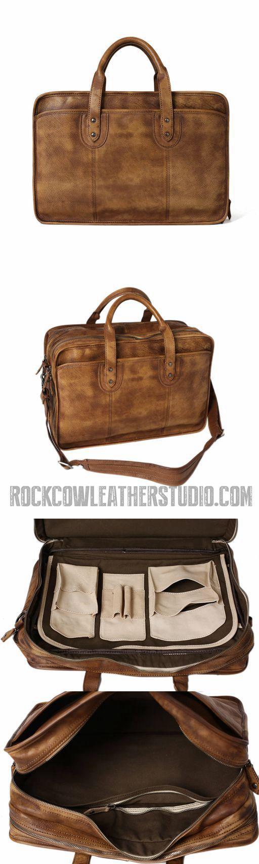 Vintage Full Grain Leather Men Briefcase, 16'' Laptop Bag, Handmade Business Handbag NZ01