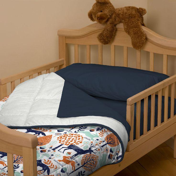 Navy and Orange Woodland Toddler Bed Comforter | Carousel Designs