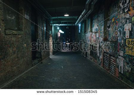 Darkness in a old grunge dirty street in the middle of night - stock photo