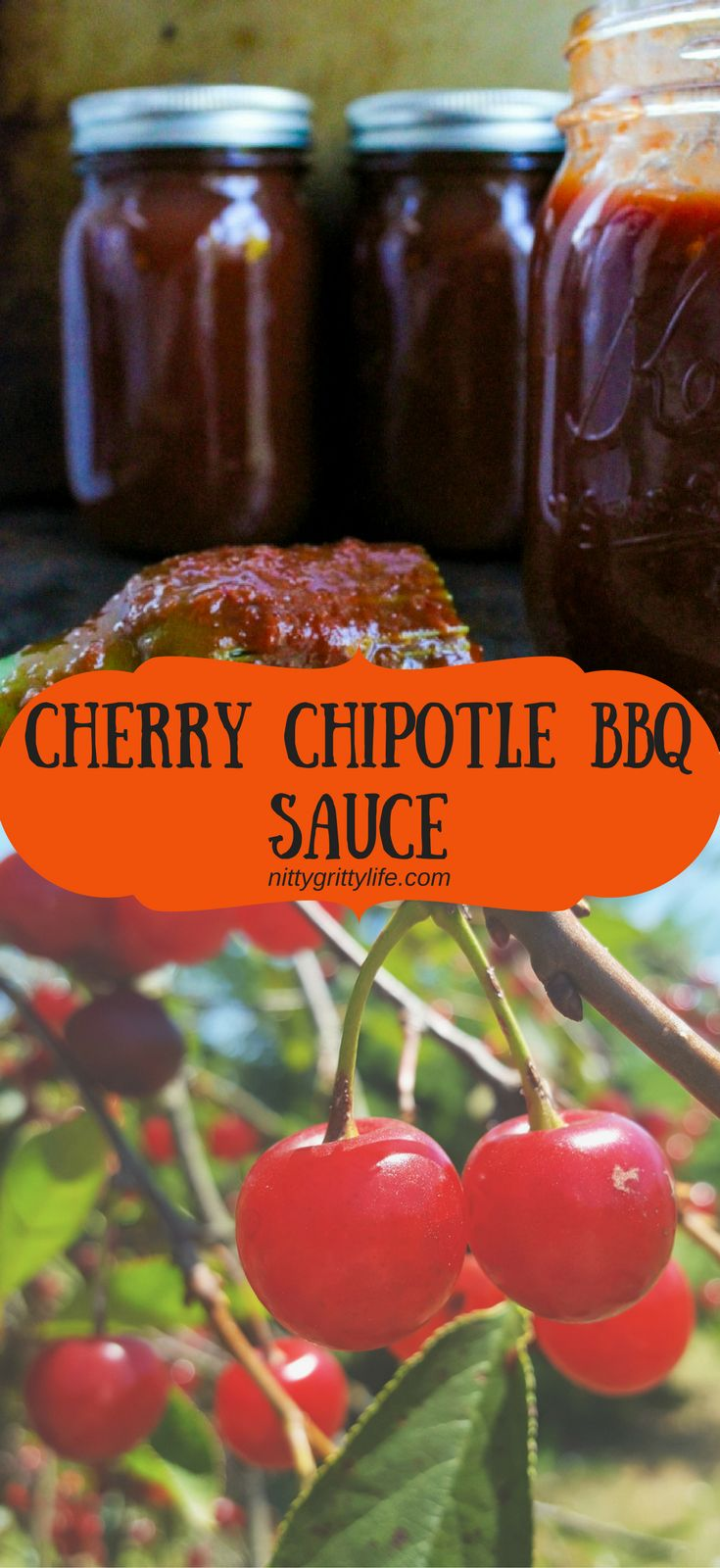 Cherry Chipotle BBQ Sauce is sweet, smoky and satisfyingly spicy. Created with tart pie cherries, this bbq sauce is best paired with pork! via @nittygrittylife