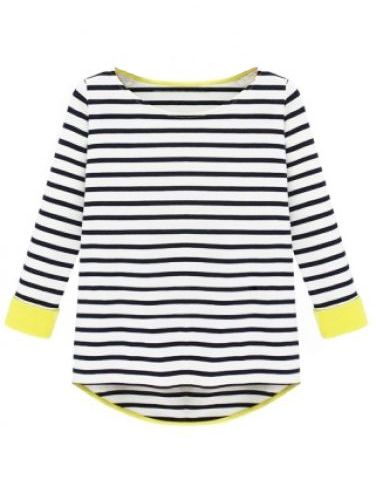 Striped Dipped Hem T-Shirt