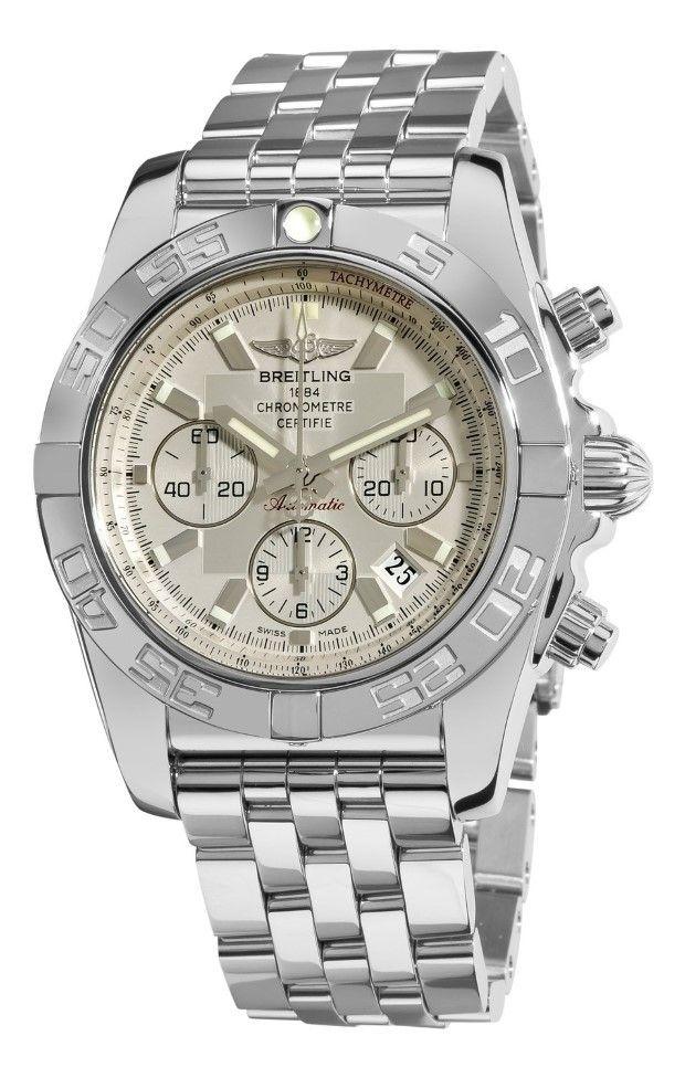Men watches : Breitling Men's AB011012/G684 Chronomat B01 Silver Chronograph Dial Watch