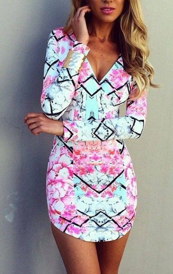 Multicolor Floral V-neck Long Sleeve Slim Dress Fun print! Probably too short for me though :/