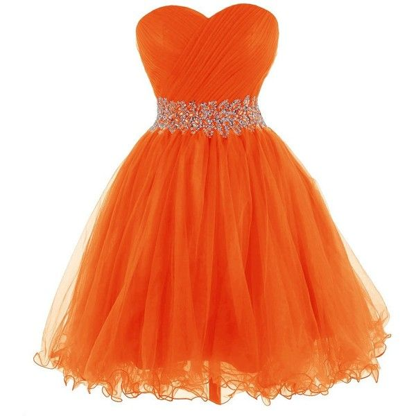 Tidetell 2015 Strapless Royal Blue Homecoming Beaded Short Prom... ($90) ❤ liked on Polyvore featuring dresses, gowns, strapless prom dresses, orange prom dresses, beaded gown, royal blue evening dress and short homecoming dresses