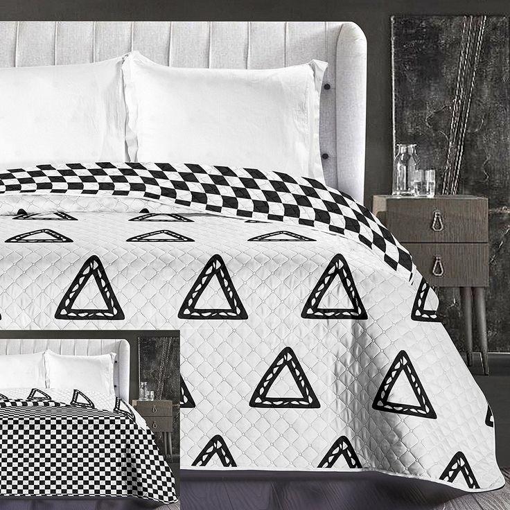 Biele obojstranné prikrývky na posteľ so vzorom šachovnice