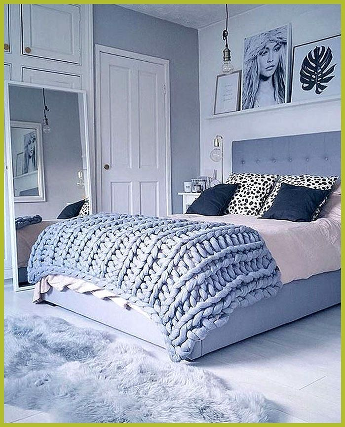 Beautiful Blue Bedrooms We Love Powder Blue Bedroom Design I Love The Chunky Knit Blanket In A Sof Blue Bedroom Decor Grey And Gold Bedroom Blue Bedroom Design