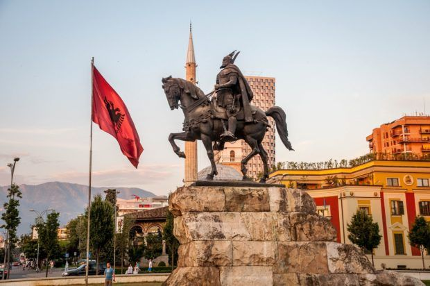 Skanderbeg Square in Tirana, Albania. A visit to the country's capital will be on most people's list for travel to Albania.