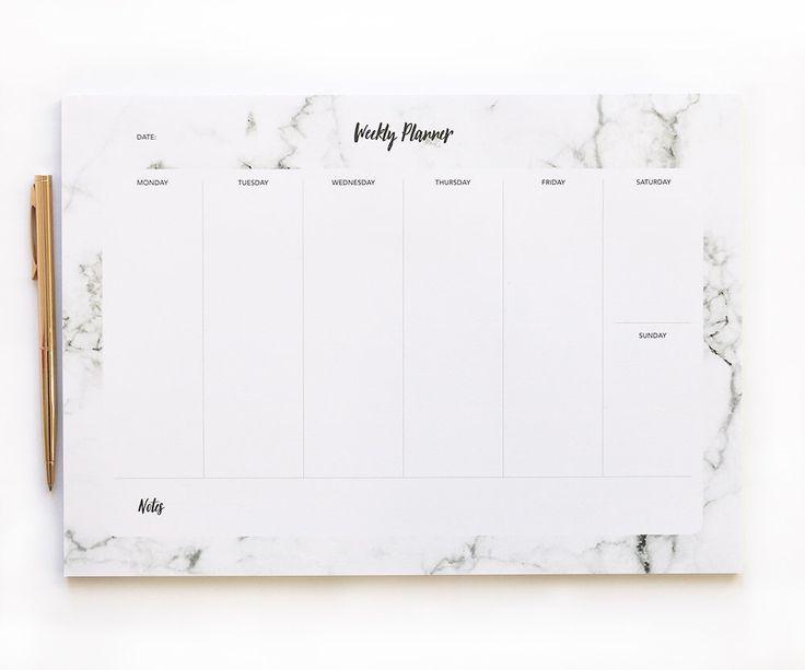 Planner settimanale Pad - marmo sottomano - A4 - Daily Planner - stazionario regalo - 50 pagine di Tear-off di BlossomStudioUK su Etsy https://www.etsy.com/it/listing/480467890/planner-settimanale-pad-marmo-sottomano