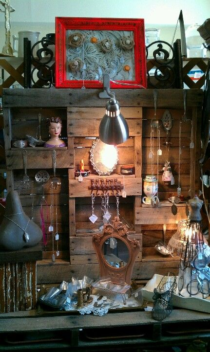 Jewelry display made from pallets. Copper Penny Trading Co. Cushing ,Oklahoma.