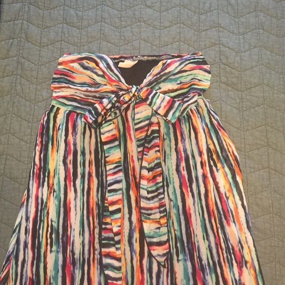 Multicolored Chiffon Maxi dress ❤️ Can tie two ways, no signs of wear. It is lined on the inside. Xhilaration Dresses Maxi