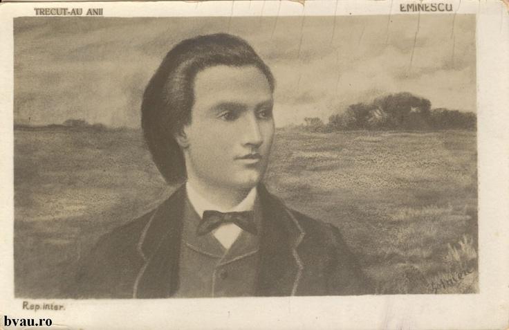 """Mihai Eminescu, anul 1905.  Imagine din colecţiile Bibliotecii Judeţene """"V.A. Urechia"""" Galaţi."""