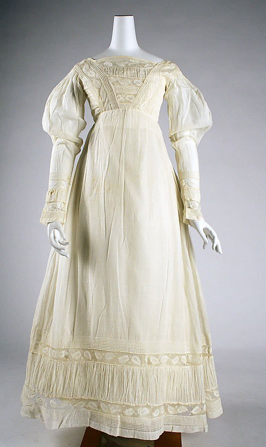 Cotton morning dress ca. 1820, American - in the Metropolitan Museum of Art costume collections.