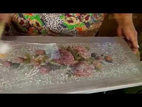 Декупаж полированной полки. Шаг 2. - YouTube