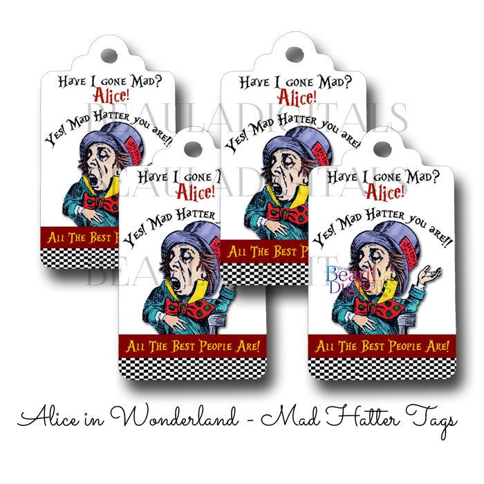50 Alice in Wonderland - Madhatter Swing Tags - Paper Product - Printed Material