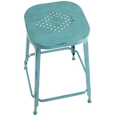 Weldon Teal Backless Counter Stool Counter Stools Metal