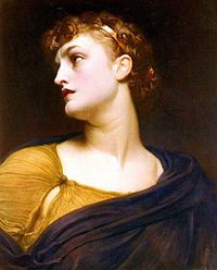 "Antigone, by Frederic Leighton, 1882, In Greek mythology, Antigone is the daughter of Oedipus and Jocasta, Oedipus' mother. The name has been suggested to mean ""opposed to motherhood"", ""in place of a mother"", It may also mean ""against men"" since men were dominant in the Ancient Greek family structure, and Antigone clearly defied masculine authority, or ""anti-generative"", from the root gonē, ""that which generates"" (related: gonos, ""-gony""; seed, semen)"