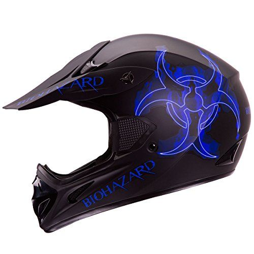 """IV2 """"BLUE BIOHAZARD"""" Matte Black High Performance Motocross, ATV, Dirt Bike Helmet [DOT] (L). For product info go to:  https://www.caraccessoriesonlinemarket.com/iv2-blue-biohazard-matte-black-high-performance-motocross-atv-dirt-bike-helmet-dot-l/"""