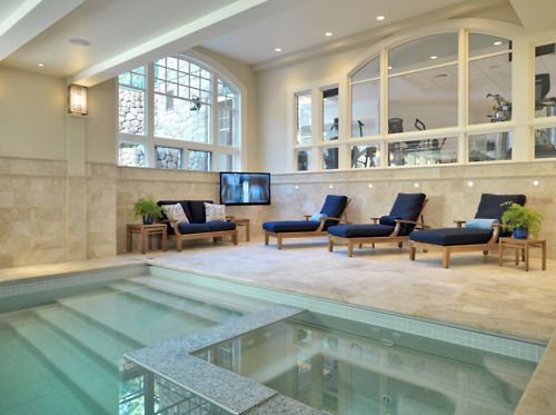 "...Indoor pool and gym of a luxurious home by Jay Gleysteen Architects....reminds me of ""Meet Joe Black"""