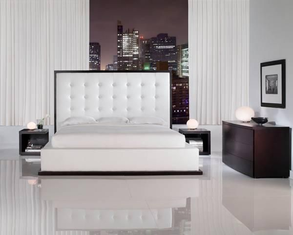 White Leather Headboard Bed With Gorgeous Designs
