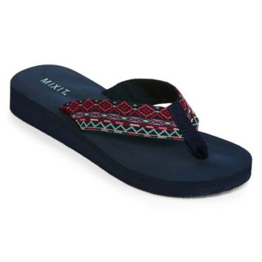 Mixit™ Tribal-Print Flip Flops  found at @JCPenney