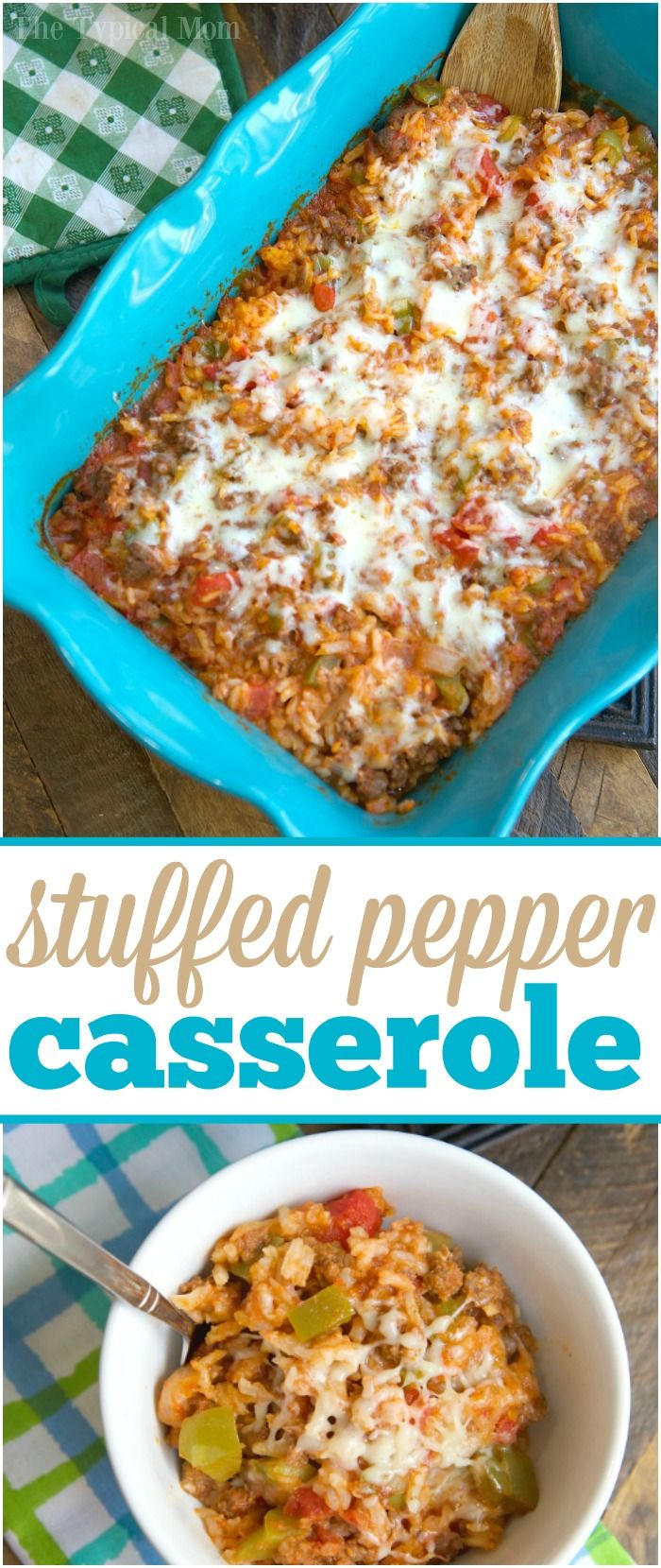 This cheesy stuffed pepper casserole is so good! Like deconstructed stuffed bell peppers it's easy to throw together and even my kids love it! via @thetypicalmom
