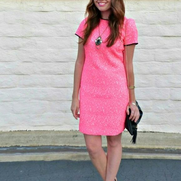 Banana republic neon pink leopard dress Neon pink and white with black trim shift dress. Knee length,size 6 worn once Banana Republic Dresses Midi