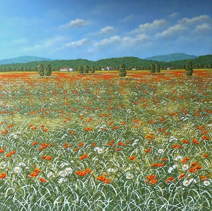 """olio su tela, dipinto di Marco Saporiti. Pittura, flowers,poppies dipinto 100 x100 - """"Red and White"""