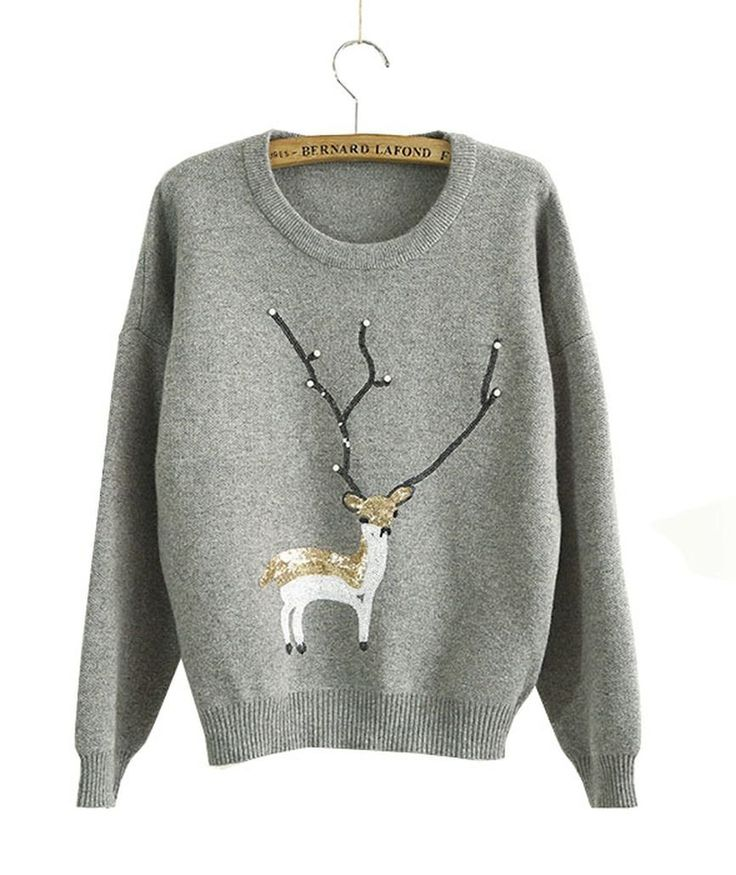 Amazon.com: KSJK Women's Fashion Reindeer Christmas Jumper Crew Neck Pullover Sweater(Grey): Clothing