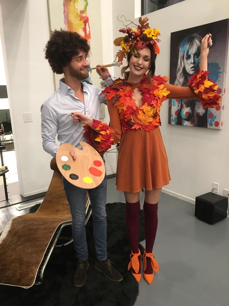 Bob Ross Painting His Happy Tree. How did my wife and I do on our Halloween costumes? - Album on Imgur