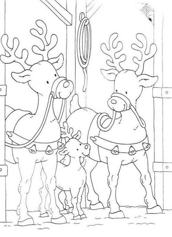 Family Of Reindeer Free Coloring Christmas Pages