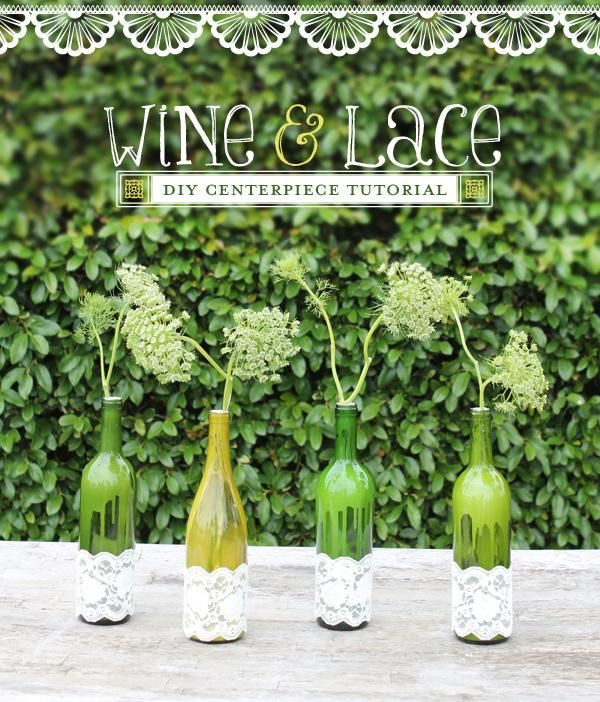 DIY Art & Crafts : DIY Tutorial: Wine & Lace Centerpieces